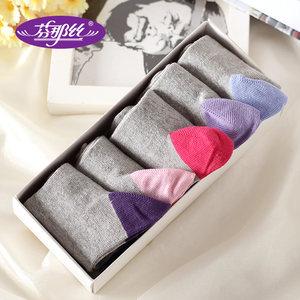 芬那丝男袜6双礼盒装商务中筒袜透气防臭女棉袜男士黑色棉袜包邮