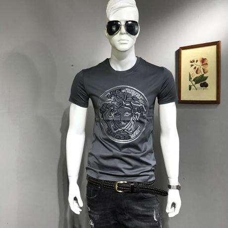 夏季潮牌美杜莎短袖T恤男士韩版修身打底衫社会小伙丝光棉半袖t恤