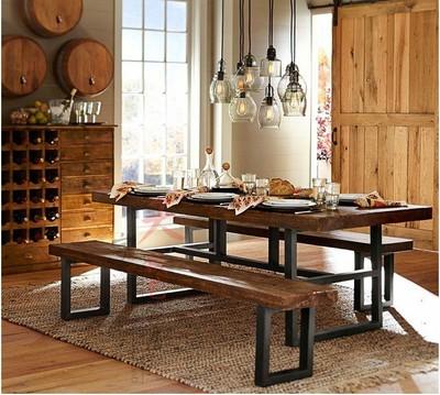 美式复古铁艺实木餐桌 办公桌 酒吧桌 酒店桌椅 餐桌椅