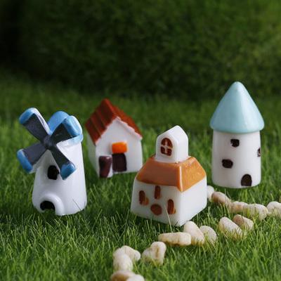 苔藓微景多肉观盆栽小房子配件城堡风车教堂小屋树脂配饰小摆件