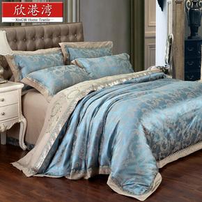 欧式奢华贡缎提花刺绣花床上用品四件套婚庆床品4件套家