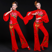 New Yangko Dresses for Women's Classical Dance in 2019 Waist Drum for Adult Fan Dance Square Yangko Dresses