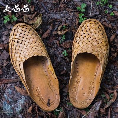尼泊尔印度平底拖鞋 BV风纯手工骆驼皮编织复古凉拖 男女款居家鞋