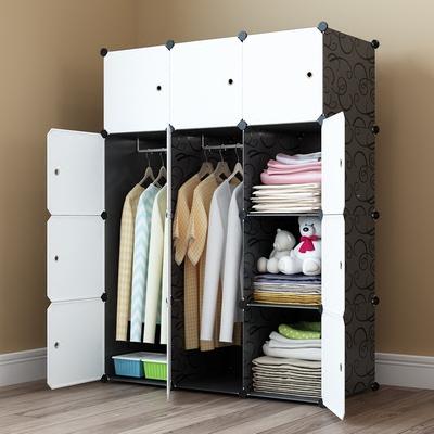 简易衣柜简约现代经济型组合实木纹塑料组装储物收纳柜子布艺衣橱网上专卖店
