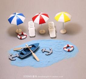 仿真微缩模型 海边沙滩 小船太阳伞 场景 锚 塑料 微景手办摆件