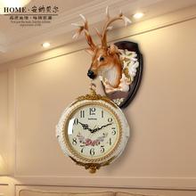 欧美式复古双面挂钟客厅钟表创意个性鹿头装饰壁挂件大号静音挂表