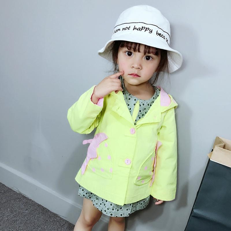 女童2019新款春秋外套风衣中小童韩版可爱单排扣外衣38Xtt3JUcR