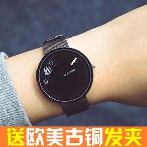 新概念创意手表时尚潮流个性女男学生韩版简约复古情侣表编织钢带