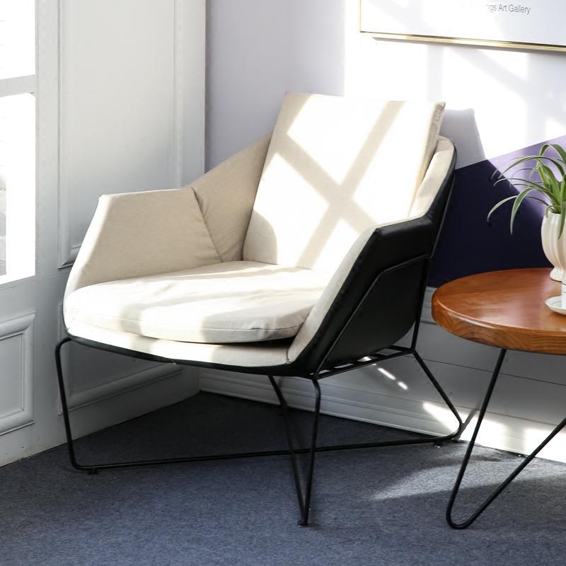 北欧铁艺布艺沙发居家 简约单人沙发懒人办公室咖啡厅奶茶甜品店