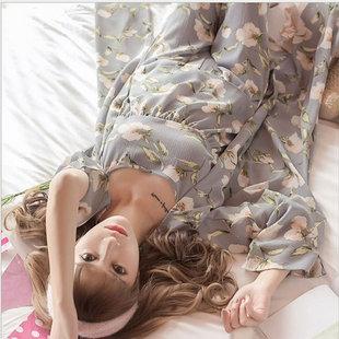 日式睡衣女士薄款雪纺性感吊带大码春季阔腿裤居家服三件套和服