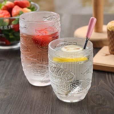索厨 地中海月光鱼浮雕玻璃杯复古家用无铅水晶大容量果汁牛奶杯