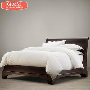 新款美式高档全实木双人床酒店卧室松木欧式木床2米一体橡木大床