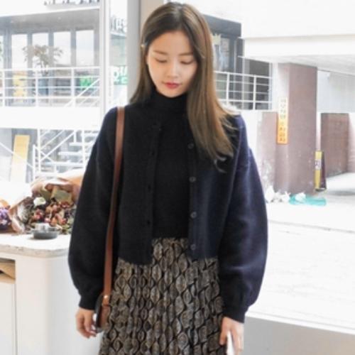 纯色单排扣泡泡袖短款针织开衫17春季新品Cherrykoko韩国正品直发