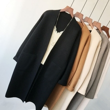 Korean version square pocket long sweater cardigan with thin and loose temperament