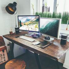 美式loft办公桌实木餐桌铁艺现代简约台式家用转角书桌简易电脑桌