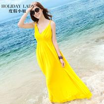 夏黄色沙滩裙波西米亚裙子性感小心机连衣裙露背吊带裙女度假长裙