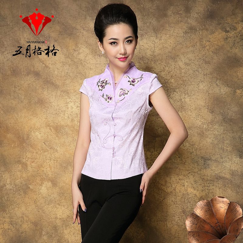 May Pang spring and summer new ladies Chinese style modified short sleeve fashion fresh embroidery Tang suit