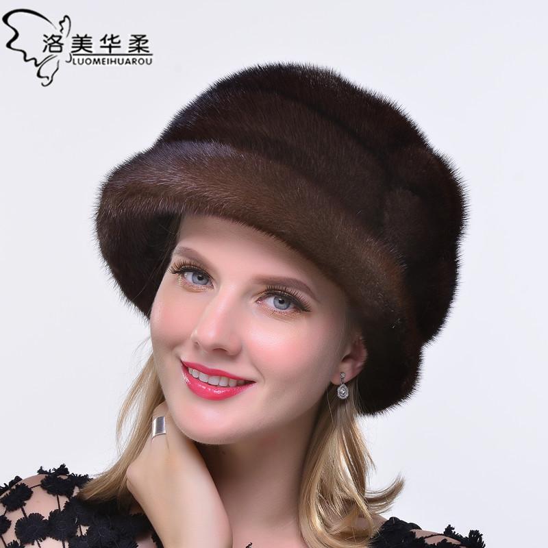 新款水貂帽子女整貂皮礼帽冬天保暖皮草帽子进口整貂真皮时尚百搭