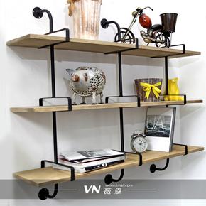 墙上置物架壁挂书架实木创意壁柜层板一字隔板铁艺支架工业风书柜