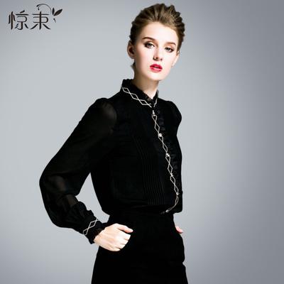 秋装女2018新款刺绣雪纺衬衫长袖立领胖mm黑色衬衣韩范洋气上衣潮