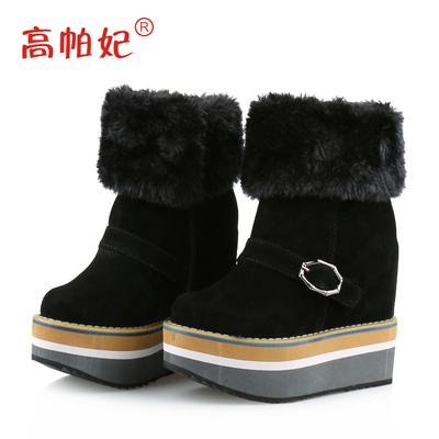 秋冬内增高雪地靴女学生厚底坡跟棉靴女超高跟10cm短靴松糕防水台