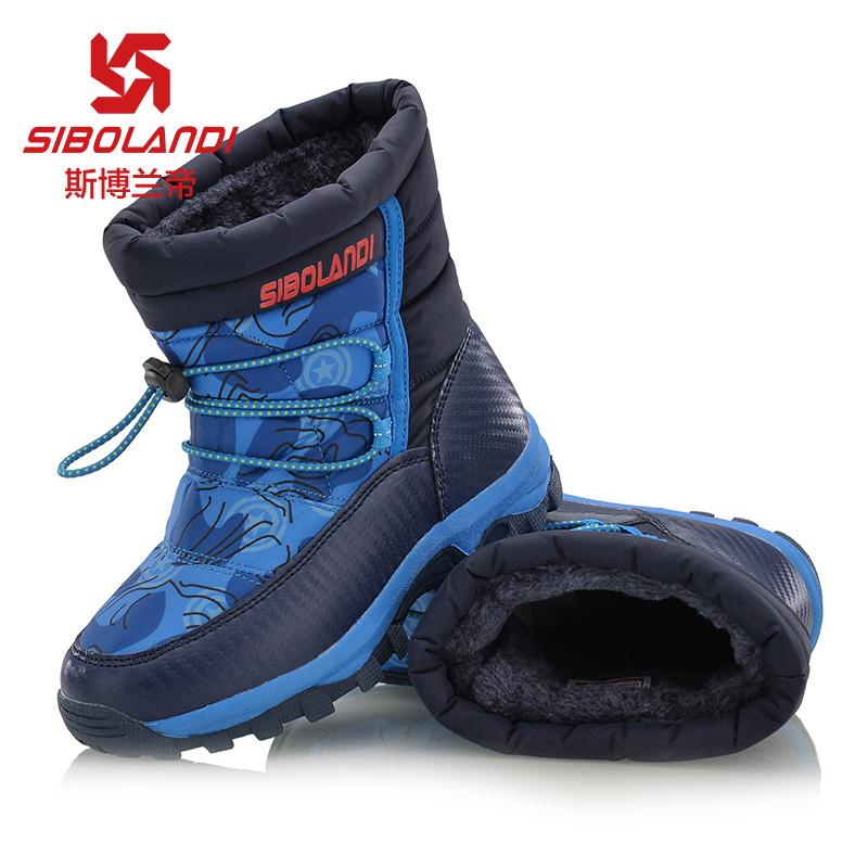斯博兰帝儿童户外鞋高帮加绒靴男童女童防滑保暖雪地靴冬