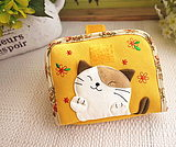 Japanese illustration KINECAT lovely fall cat lady pure cotton cartoon short wallet delivered by air!