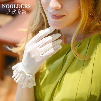 罗欧蒂斯春夏季骑车防晒手套蕾丝女士手套开车短款薄棉遮阳手套