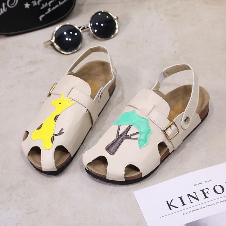 韩国ulzzang日系包头镂空凉鞋女夏森女系复古罗马学生平底沙滩鞋