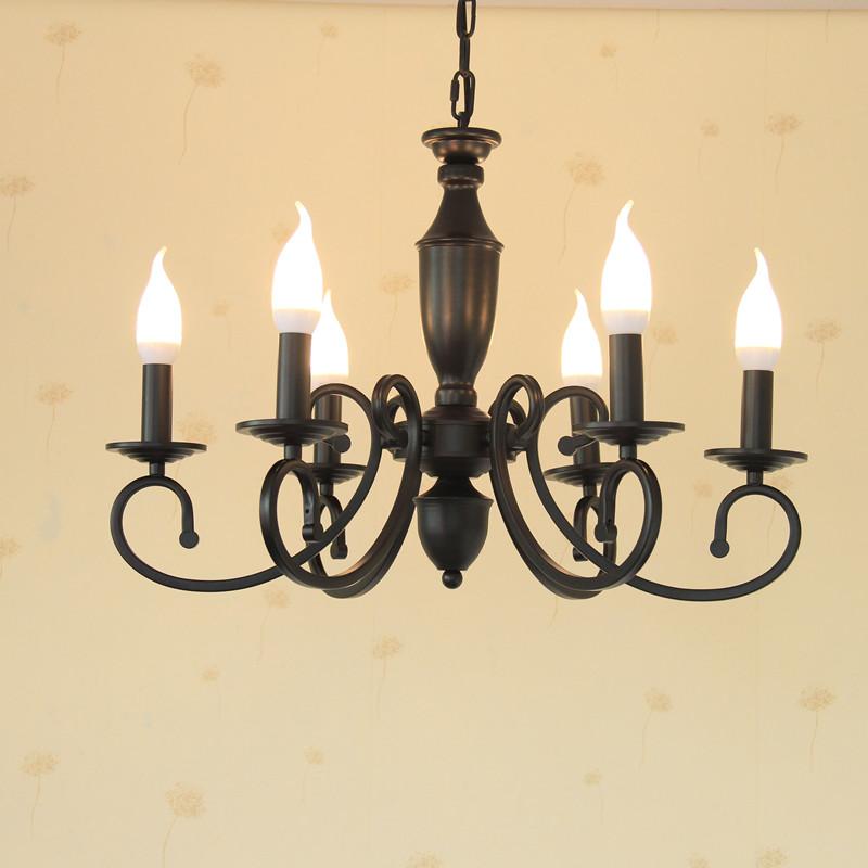 6头铁艺蜡烛吊灯