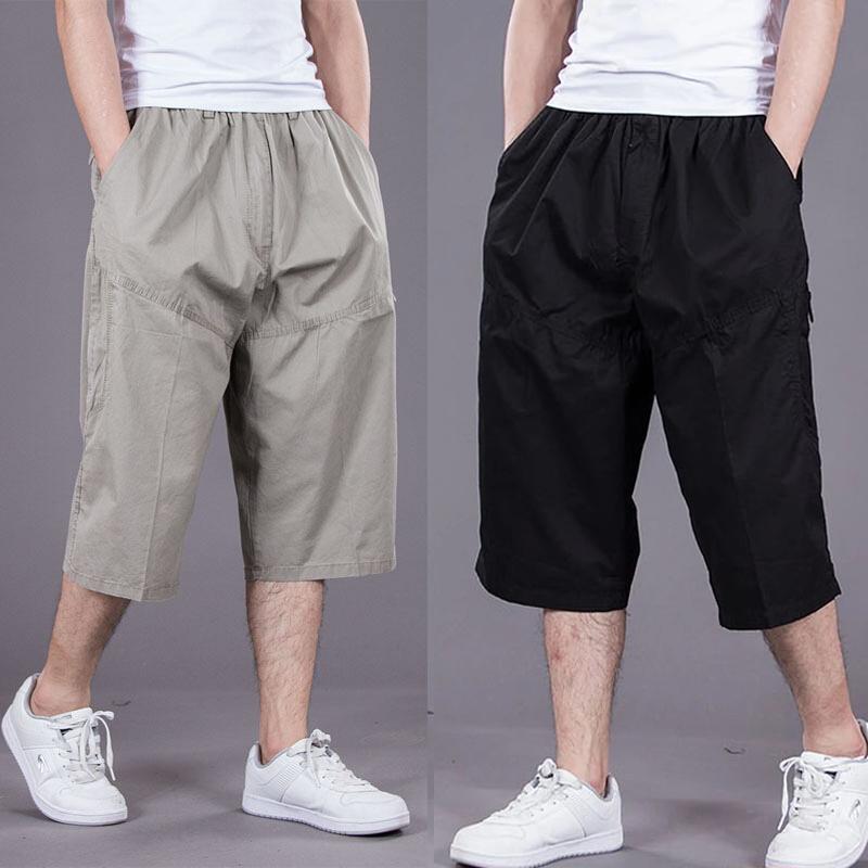 夏季薄款加肥加大休闲中裤宽松 七分裤男肥佬裤 宽松多袋工装短裤