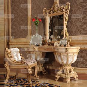 豪门骄子 意大利高端实木梳妆台美式复古化妆台桌卧室实木家具