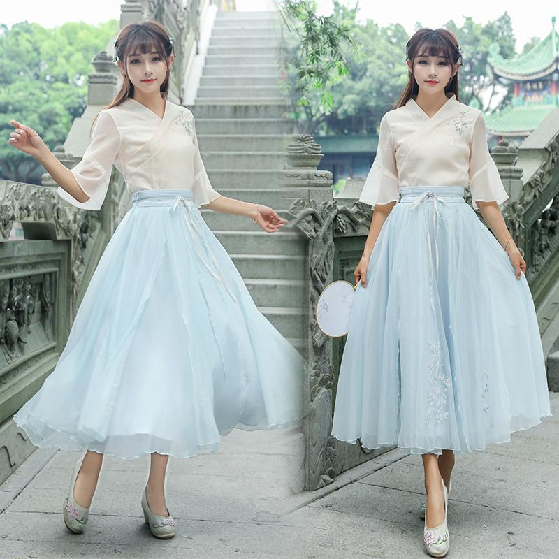 夏新款女装复古文艺喇叭袖交领刺绣花汉元素上衣大摆两件套连衣裙