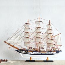 激光立体雕刻木制地中海帆船模型 居家装饰品工艺船摆件乔迁礼品