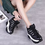 Seismic King 2019 Spring and Autumn Super-high heeled dermis breathable casual sports women's shoes within the tide of high-bottomed muffin single shoes