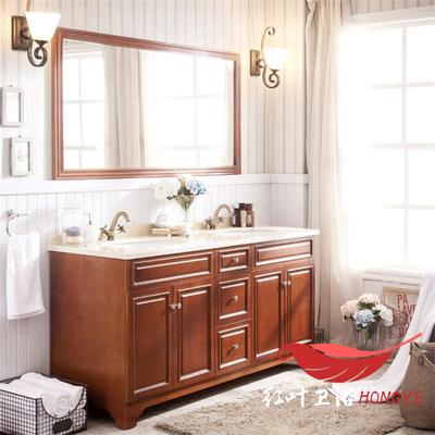 中式仿古简约风格浴室柜实木落地柜双盆大理石整体洗脸盆卫浴组合
