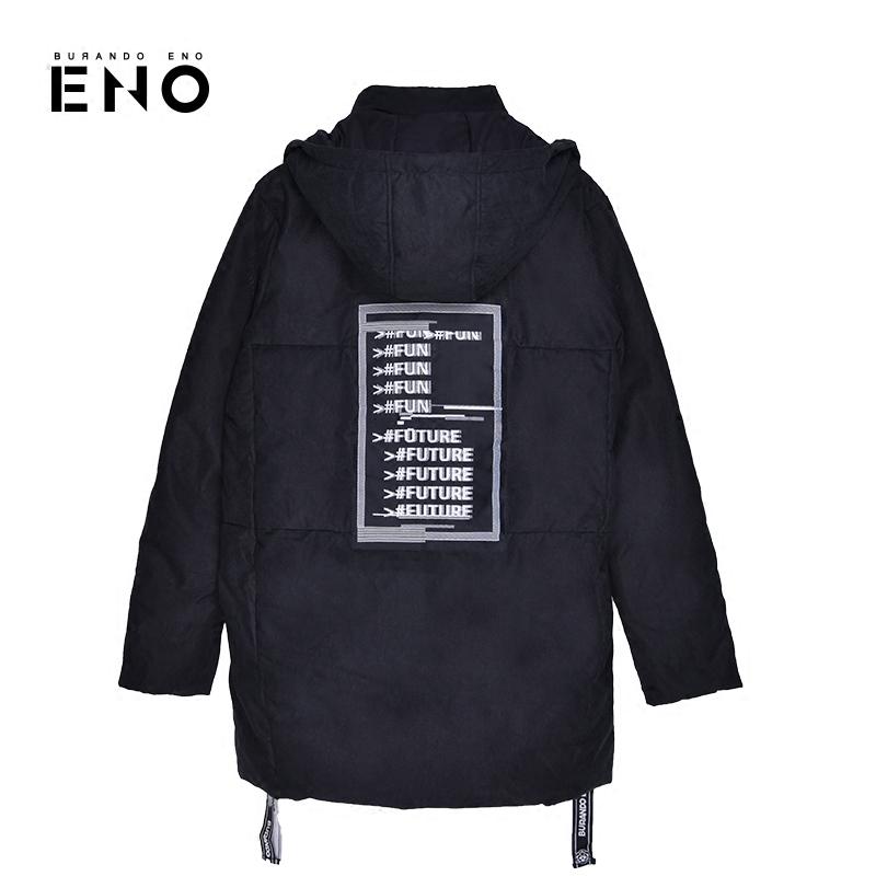 BURANDO ENO潮牌男士印花羽绒服秋冬时尚连帽中长外套 E7WTM16010