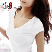 2017新款白色t恤女夏纯棉打底衫半袖体恤修身紧身纯色V领短袖黑色