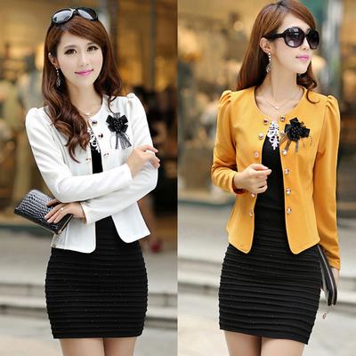 春秋装新款中年女装韩版小西服外套大码女装短款长袖外搭薄款上衣