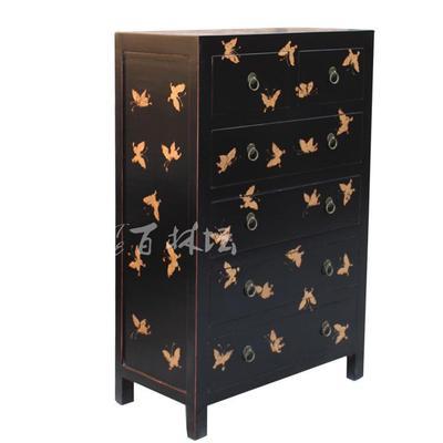 手绘金色蝴蝶6斗柜 手工木制家具可定制 边柜田园玄关柜储物柜子