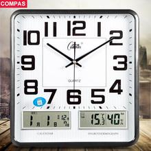 康巴丝现代客厅挂钟时尚万年历钟表简约个性大号长方形石英钟挂表
