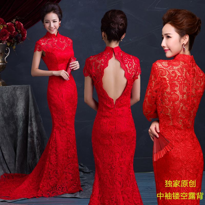 红色旗袍冬季结婚