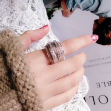 S925 Silver Multilayer Streamline Zircon Ring Customized by European and American Fashion