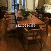 老榆木会议桌实木餐桌子吃饭复古做旧长方形原木洽谈桌家用办公桌