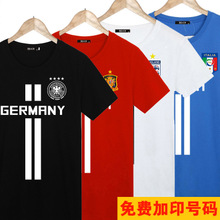 Sports fans World Cup commemorative team dress, teenage students, big size cotton short sleeved T-shirt, men and women's half sleeves