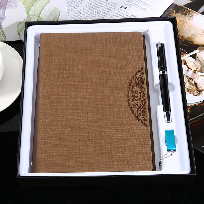 商务皮面记事本+笔文具礼盒套装订做定做笔记本封面定制印刷logo