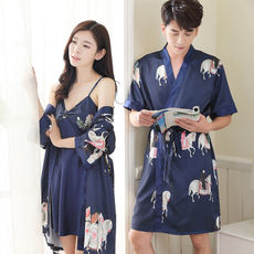 Summer men and women Japanese kimono pajamas thin section ice silk couple  nightgown two-piece a71a9e9f0