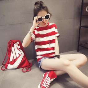 2016春装新款女装韩版红白横条纹短袖丅恤修身体恤夏季夏装韩范潮