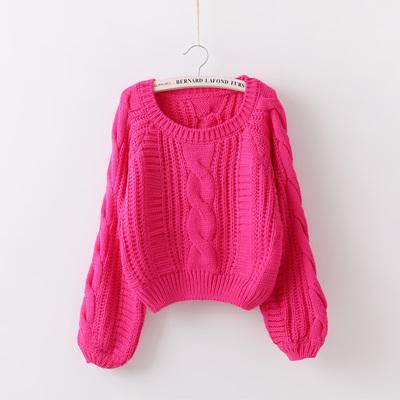 2018秋季新款韩版套头毛衣女加厚粗线灯笼袖宽松短款针织麻花上衣