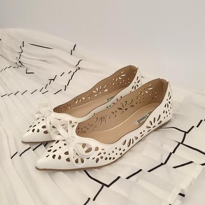 蝴蝶结浅口新品女夏季镂空平底单鞋白色百搭尖头休闲鞋大码鞋正品